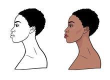 Retrato da animação da mulher africana nova Opinião do perfil ilustração royalty free