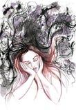 Retrato da aquarela da menina Imagens de Stock