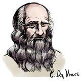 Retrato da aquarela de Leonardo da Vinci ilustração stock
