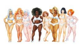 Retrato da aquarela de mulheres positivas do tamanho ilustração do vetor