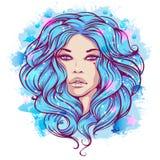 Retrato da aquarela de uma menina romântica com cabelo azul longo Imagens de Stock Royalty Free