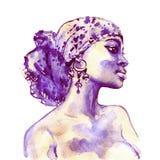 Retrato da aquarela da mulher africana ilustração do vetor