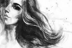 Retrato da aquarela da mulher bonita ilustração royalty free
