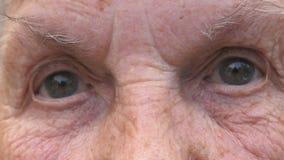 Retrato da avó que olha na câmera com uma vista triste Fim acima dos olhos cinzentos da mulher idosa com enrugamentos ao redor vídeos de arquivo
