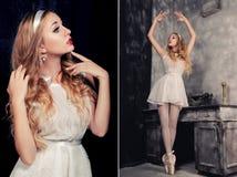 Retrato da bailarina bonita que que levanta contra o backgr escuro Imagens de Stock