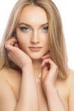 Retrato da beleza da mulher loura glamoroso com miliampère de brilho brilhante fotos de stock royalty free