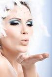 Retrato da beleza da mulher na composição do inverno Fotografia de Stock Royalty Free