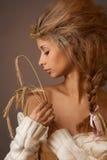Retrato da beleza da mulher provincial imagens de stock royalty free