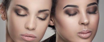 Retrato da beleza de duas meninas afro-americanos imagens de stock royalty free