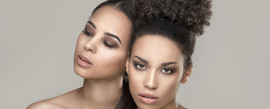 Retrato da beleza de duas meninas afro-americanos foto de stock royalty free