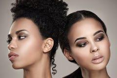 Retrato da beleza de duas meninas afro-americanos fotos de stock royalty free