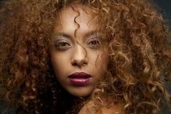 Retrato da beleza de uma cara fêmea bonita do modelo de forma com miliampère Imagens de Stock Royalty Free