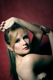 Retrato da beleza de uma mulher nova Imagem de Stock