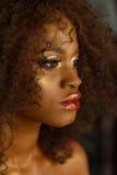 Retrato da beleza do close up da menina afro-americano nova com ouro e composição do encanto Foto de Stock Royalty Free
