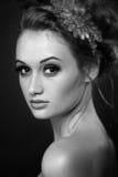 Retrato da beleza Fim fresco perfeito da pele acima Modelo puro da beleza Imagem de Stock