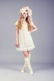 Retrato da boneca bonito da menina Foto de Stock Royalty Free