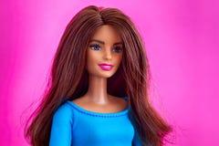 Retrato da boneca de Barbie com cabelo marrom contra o fundo cor-de-rosa foto de stock