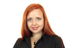 Retrato da cara do close up da mulher de negócio do ruivo fotografia de stock