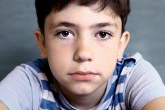 Retrato da cara do close-up do menino do adolescente imagem de stock royalty free