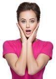 Retrato da cara surpreendida da mulher Fotografia de Stock Royalty Free