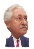 Retrato da caricatura de Fotis Kouvelis Fotos de Stock Royalty Free
