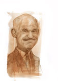 Retrato da caricatura de George Papandreou Fotos de Stock