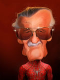 Retrato da caricatura de Stan Lee Fotografia de Stock Royalty Free