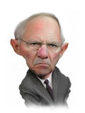 Retrato da caricatura de Wolfgang Schäuble Imagens de Stock