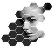 Retrato da cirurgia plástica da mulher nova, saudável e bonita, da pele que levantam, dos termas, dos cosméticos e do conceito da Imagem de Stock