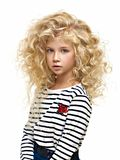 Retrato da criança bonita isolada no branco foto de stock royalty free