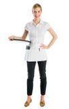 Retrato da empregada de mesa feliz With Serving Tray imagens de stock