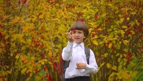 Retrato da estudante bonito feliz de sorriso do menino com trouxa que ri à câmera fora, estudante de primeiro grau que tem o dive filme