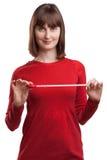 Retrato da fêmea atrativa com fita métrica fotos de stock royalty free