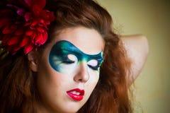 retrato da Face-arte de uma mulher bonita Fotos de Stock Royalty Free