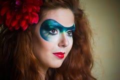 retrato da Face-arte de uma mulher bonita Imagens de Stock