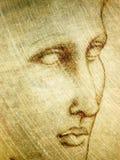 Retrato da face do esboço do lápis ilustração do vetor