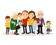 Retrato da família dos desenhos animados Imagens de Stock