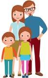 Retrato da família dos pais e as suas crianças, filho e filha ilustração do vetor