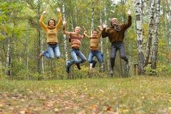 Retrato da fam?lia de quatro pessoas no parque imagem de stock royalty free