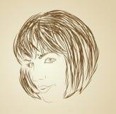 Retrato da forma do estilo do esboço da menina Fotos de Stock Royalty Free