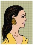 Retrato da forma da jovem mulher sensual bonita Perfil da menina com cabelo longo preto Ilustração do vetor do pop art no ponto Fotos de Stock