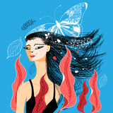 Retrato da ilustração do vetor de uma menina bonita Foto de Stock Royalty Free