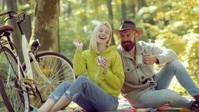 Retrato da jovem mulher alegre e do homem farpado com folhas do outono Autumn Couple rom?ntico no amor Beleza do outono video estoque