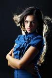 Retrato da jovem mulher bonita com cabelo marrom por muito tempo reto Imagens de Stock