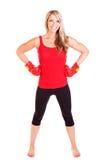 Retrato da jovem mulher bonita que faz o exercício do encaixotamento Fotografia de Stock Royalty Free