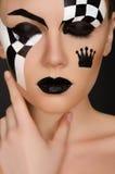 Retrato da jovem mulher com arte preto e branco da cara fotografia de stock royalty free