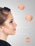 Retrato da jovem mulher com círculos da lente de aumento Imagens de Stock