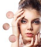 Retrato da jovem mulher com círculos da lente de aumento Fotos de Stock Royalty Free