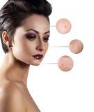 Retrato da jovem mulher com círculos da lente de aumento Fotografia de Stock Royalty Free