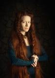 Retrato retro do estilo de mulher redheaded imagens de stock royalty free